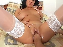Busty brunette milf  Mara blows and..
