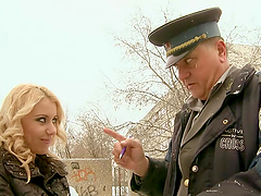 Blonde Beaut Rides An Old Officer To..