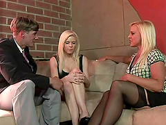 Amazing FFM Threesome with Blonde Teen..