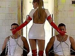 Stunning nurse having fun with two..