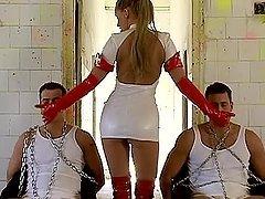 Stunning nurse having fun with two..