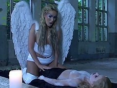 Amazing girls in angel costumes have..
