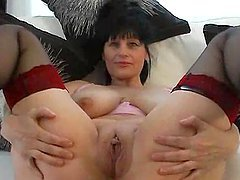 Big breasted mature slut shows and..