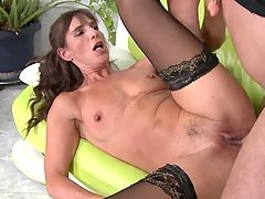 Brunette granny Mariana blows and..