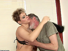 Short Haired Cutie Rides An Older Guy..