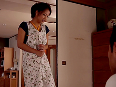 Japanese Housewife Doing House Work..