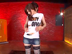 Busty Japanese Chick Anri Okita Wears Long Socks to Suck and Fuck