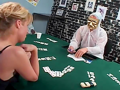 Blond shemale loses the poker game and..