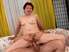 Lustful granny sucks a cock and gets..