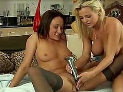 Blonde and brunette toy their hot..