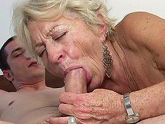 Lewd granny Malya gives a blowjob and..