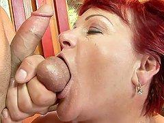 Redhead granny Eszmeralda gets her..
