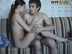 Horny brown-haired teen having wild..
