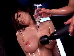 Oiled up Julia gets her pussy toyed..