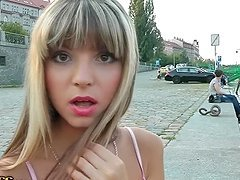 Blonde Russian hottie goes for public..