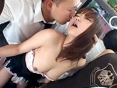 Nice Japanese girl with big tits gets fucked in crowded bus