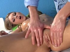 Horny blonde girl gets fingered and..