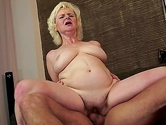 Blonde granny Bulija gets fucked and enjoys cum on her chin