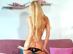 Skinny Blonde With Long Hair Gets Naked & Toys With Dildo