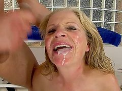 Blonde granny Gabi has sex with a..