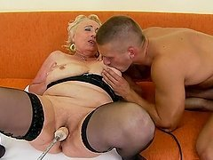 Blonde granny Sila gets her pussy..