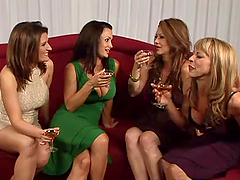 Four gorgeous lesbians licking and..