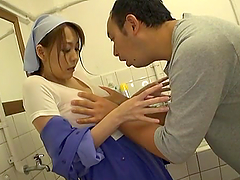 Japanese chick in janitor uniform gets..