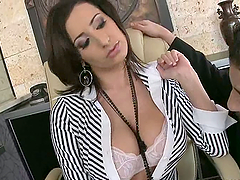 Big Titty Brunette Gets Mouthful Of..