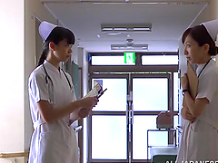 Slutty Japanese nurse undresses and..