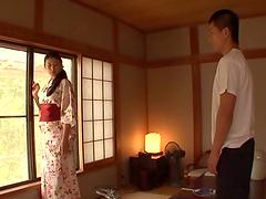 Yuuha Sakai takes her kimono off and..