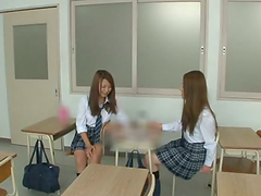 Two hot Japanese teens in school..