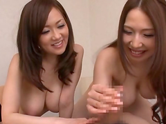 Lovely and busty Asian babe stroking..