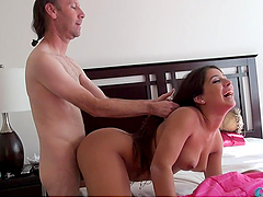 Horny Old Man Pounds Jynx's Tight Little Holes