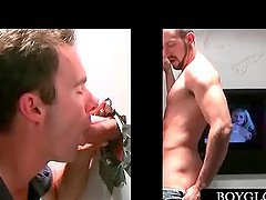 Gloryhole blowjob with gay horny stud