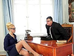Stunning blonde office girl has rough..