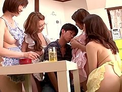Four sexy Japanese girls give pleasure..