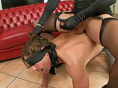 Tranny Dominatrix Forces Her Man To..