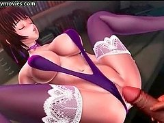Animated whore with big tits rammed