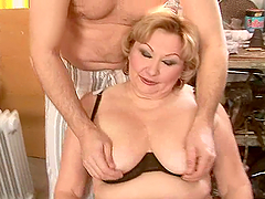 old broad is forced to cum by a dude..
