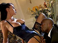 Brunette in lingerie take a black cock..
