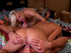 Busty Rebecca Linares and Blonde Babe Share a Dick in FFM Threesome
