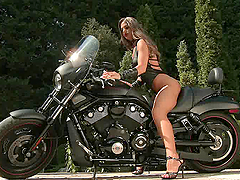Biker Chick Cathy Heaven Taking a Deep..