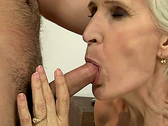 lustful grandmother takes a hard cock..