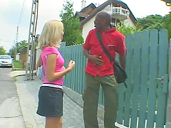 Blonde Slut Fucked By Big Black Dude.