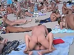A few couples banging on a nude beach..