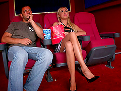 Foot fetish at the movies for a kinky..