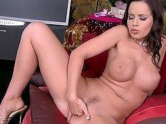 Big tittied Cindy Dollar stuffs her..