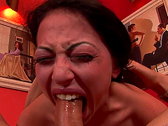 Rough Deepthroat Face Fuck for a Sexy Brunette Babe
