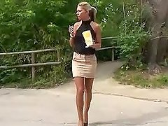 Tall blonde demonstrates her beautiful..