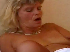 Horny mature lady wears her sexy nylon..